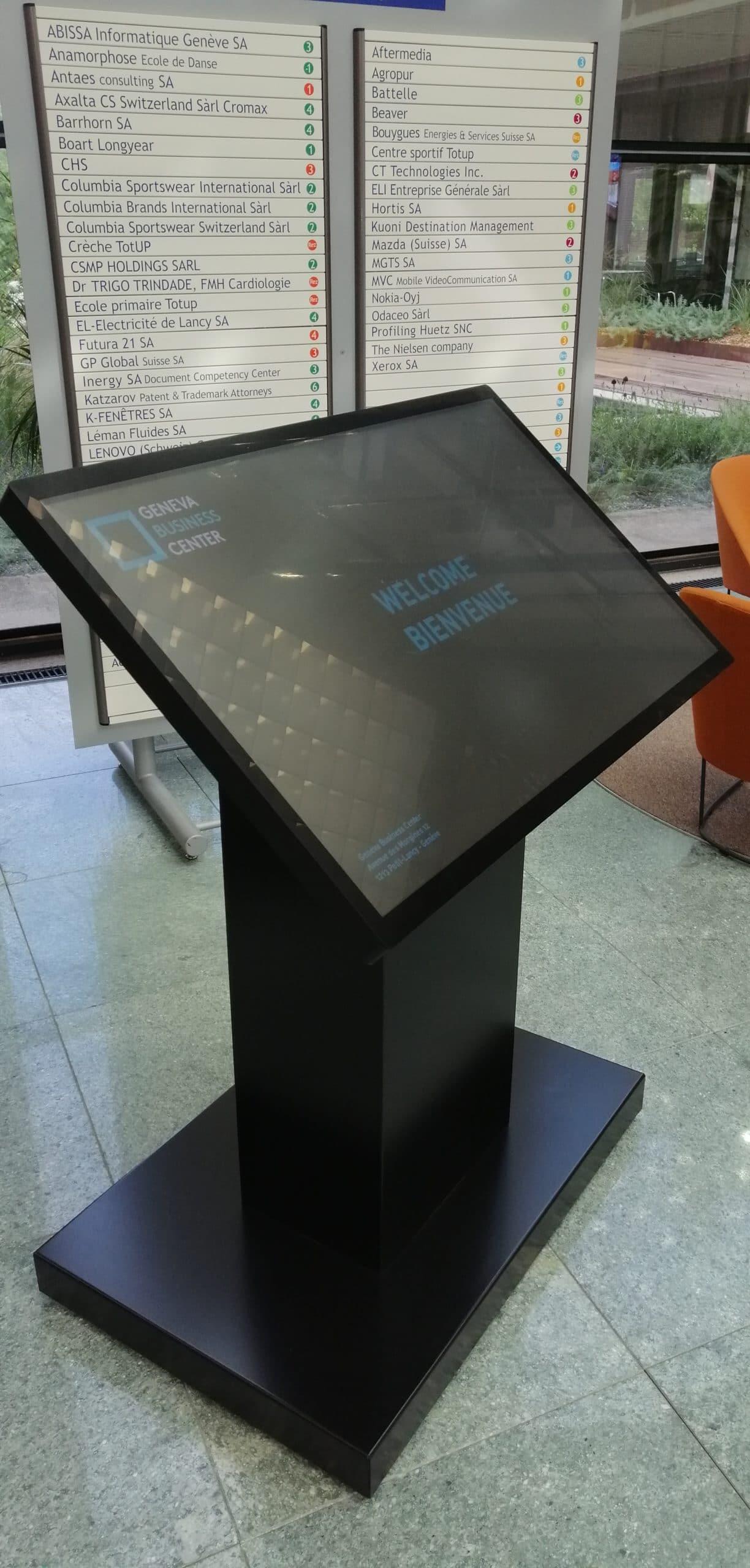 Geneva Business Center Borne profil avec message bienvenu