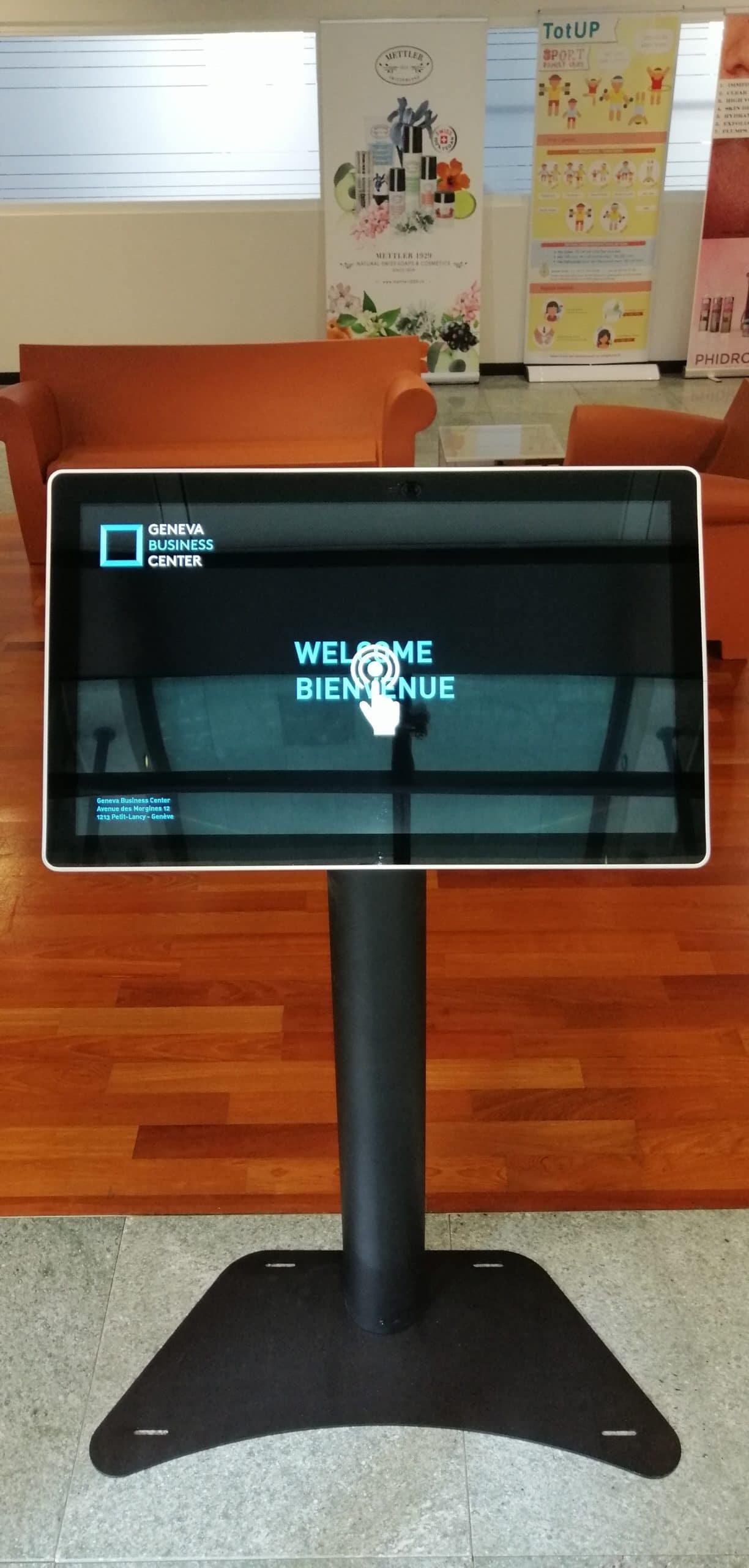 Geneva Business Center Borne 2 vue de face message bienvenu